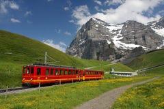 Ferrocarril suizo de la montaña Foto de archivo libre de regalías