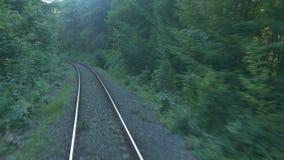Ferrocarril a través del bosque de la puesta del sol almacen de video