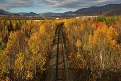 Ferrocarril viejo en el bosque del otoño y el x28 coloridos; visión desde arriba y x29; Foto de archivo