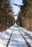 Ferrocarril viejo en invierno Imágenes de archivo libres de regalías