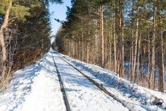 Ferrocarril viejo en invierno Foto de archivo libre de regalías