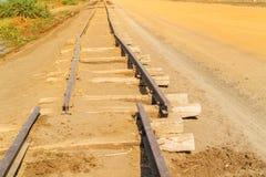 Ferrocarril viejo en Sudán Foto de archivo
