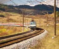 Ferrocarril y tren Fotografía de archivo
