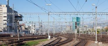 Ferrocarriles de la estación principal de Zurich Fotografía de archivo