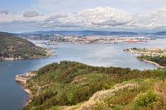 Ferrol出海口美好的鸟瞰图  库存图片