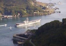 FERROL, 08 SPANJE-FEBRUARI: Vliegdekschip Principe DE Asturias Royalty-vrije Stock Afbeeldingen