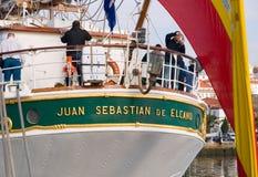 FERROL, ESPAÑA - 16 DE FEBRERO: Nave Juan Sebastian Elcano del español Imagen de archivo