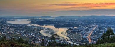 Ferrol Estuary Panorama Galicia Spain. Breathtaking panoramic view of Ferrol Estuary from Mount Ancos Galicia Spain Stock Photo