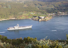 FERROL, SPAIN-FEBRUARY 08: Aircraft carrier Principe de Asturias Royalty Free Stock Photo