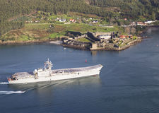 FERROL, SPAIN-FEBRUARY 08: Aircraft carrier Principe de Asturias Royalty Free Stock Photography