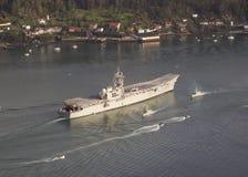 FERROL SPAIN-FEBRUARY 08: Hangarfartyg Principe de Asturias Royaltyfri Bild