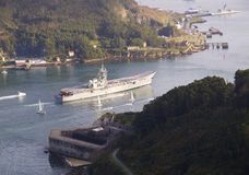 FERROL SPAIN-FEBRUARY 08: Hangarfartyg Principe de Asturias Royaltyfria Bilder