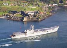 FERROL SPAIN-FEBRUARY 08: Hangarfartyg Principe de Asturias Arkivfoton