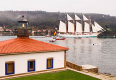 FERROL, SPAIN - FEBRUARY 15: Spanish Navy Juan Sebastian de Elcano Royalty Free Stock Photography