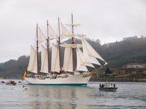 FERROL, SPAIN - FEBRUARY 15: Spanish Navy Juan Sebastian de Elcano Royalty Free Stock Photo