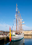 FERROL, SPAIN - FEBRUARY 16: Spanish Navy Juan Sebastian de Elcano Royalty Free Stock Photos
