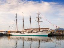 FERROL, SPAIN - FEBRUARY 16: Spanish Navy Juan Sebastian de Elcano Royalty Free Stock Photography