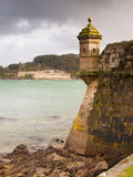 FERROL, SPAIN - FEBRUARY 08: San Felipe and La Palma castles on. February 08 , 2014, in Ferrol, Spain. These two castles are at the entrance of Ferrol estuary Stock Photos