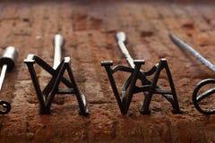 Ferros de marcagem com ferro quente foto de stock