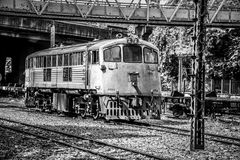 Ferrovia abbandonata monocromio a Bangkok Fotografia Stock