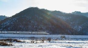 Ferrovia ad alta velocità nell'area estremamente fredda Fotografie Stock Libere da Diritti