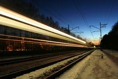 Ferrovia alla notte Fotografia Stock
