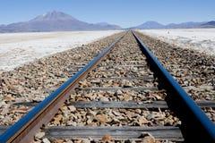 Ferrovia attraverso Salar de Uyuni Fotografia Stock Libera da Diritti