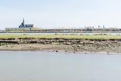 Ferrovia centrale del terminale del New Jersey, U.S.A., in Hudson Waterfront Il traghetto slitta le barche del servizio immagine stock libera da diritti