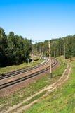 Ferrovia con un giro Fotografia Stock Libera da Diritti