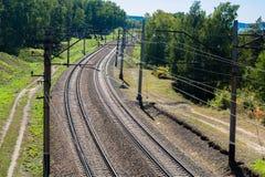Ferrovia con un giro Fotografie Stock Libere da Diritti