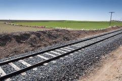 Ferrovia convenzionale in un paesaggio agricolo Immagini Stock Libere da Diritti