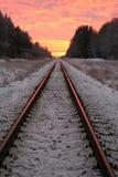 Ferrovia crepuscolare Immagini Stock Libere da Diritti