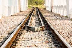 Ferrovia del primo piano nel lumphun Tailandia fotografia stock libera da diritti