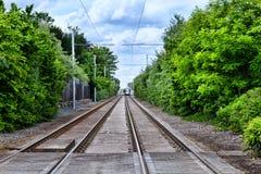 Ferrovia della linea tranviaria Immagini Stock Libere da Diritti