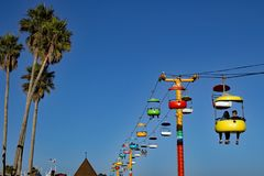 Ferrovia di cavo a Santa Cruz Boardwalk California immagine stock