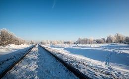 Ferrovia di inverno, alberi nel paesaggio della neve Fotografie Stock Libere da Diritti