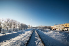 Ferrovia di inverno, paesaggio della città Immagini Stock Libere da Diritti