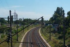Ferrovia di paesaggio urbano Fotografia Stock