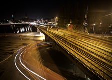 Ferrovia lunga alla notte Fotografia Stock Libera da Diritti