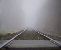 Ferrovia nebbiosa Fotografie Stock