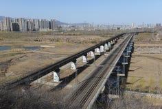 Ferrovia sul ponte e sulla città Fotografie Stock