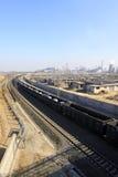 Ferrovia sull'orlo della città Fotografia Stock Libera da Diritti