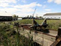 Ferrovie marine nella rimessa per imbarcazioni asciutta a Steveston, Richmond, BC, il Canada fotografia stock