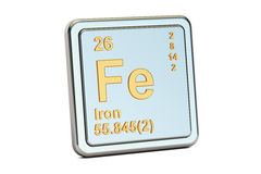 Ferrum, iron Fe chemical element sign. 3D rendering. Isolated on white background Stock Photography