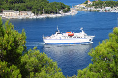Ferry. Boat entering port of Mali Losinj, Croatia Stock Image