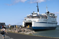 Ferry. The ferry carrying people and cars to islands of Estonia Stock Images