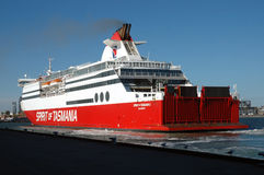 Ferry. This ferry crosses from Melbourne in Victoria to Tasmania. Leaving at 6pm getting in 7am. While it`s sister ship leaves from Tasmania. They carry cars Stock Photo
