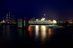 Ferry. Long exposure of a car ferry in harbor royalty free stock photography