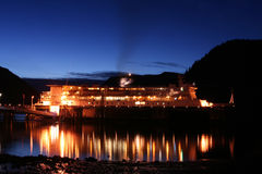 Ferry. Docked Alaskan cruise ship at night stock photography
