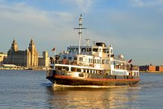 Ferry across The Mersey. Mersey Ferries operate regular services across the Mersey River between Pier Head (Liverpool) and Woodside & Seacombe on the Wirral Stock Photos